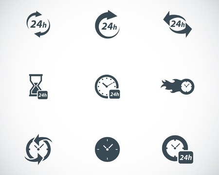 24 hour: Vector black clock icons set on white background Illustration