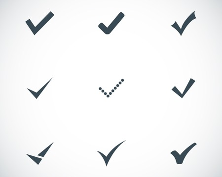 white check mark sign: Vector black confirm icons set on white background