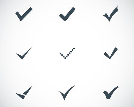 garrapata: Vector iconos confirman negro situado en el fondo blanco Vectores