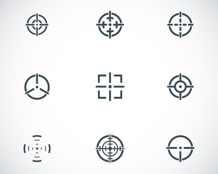 balck: Vector balck crosshair icons set white background Illustration