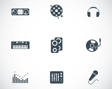 dj turntable: Vector black dj icons set on white background