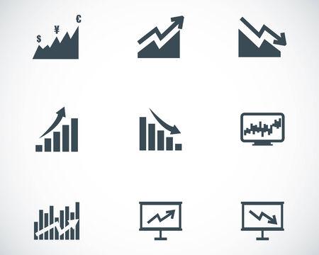 economic growth: Vector black economic icons set on white background