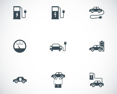 charge: Vector black electric car icons set on white background