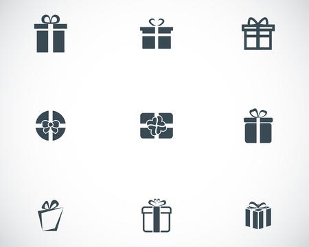 ruban noir: Cadeau de vecteur noir icônes mis sur fond blanc Illustration