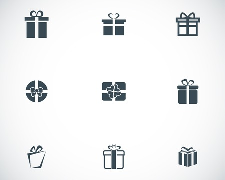 black ribbon bow: Vector black gift icons set on white background