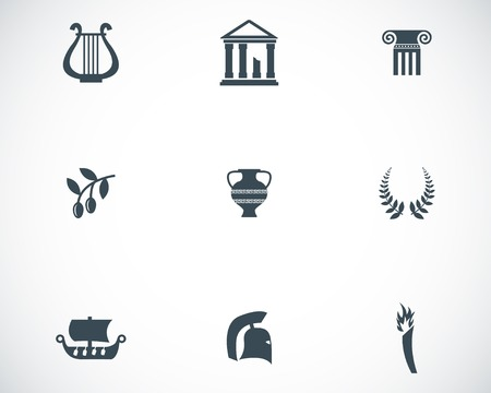 the acropolis: Vector black greece icons set on white background Illustration