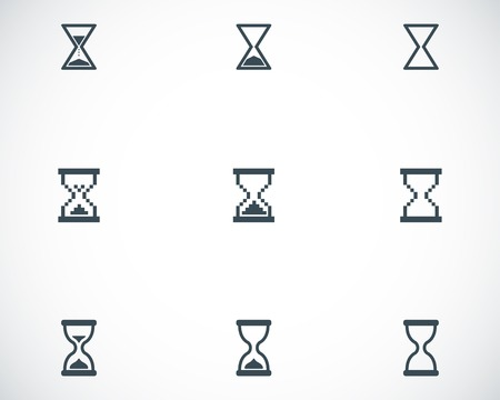 sandglass: Vector black hourglass icons set on white background