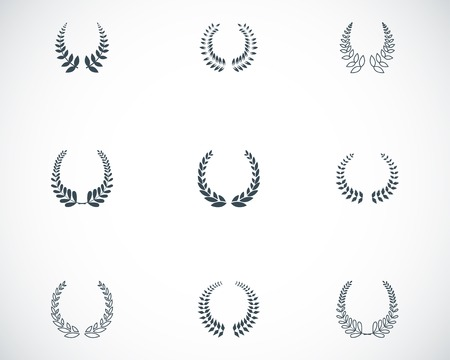 wreaths: Vector black laurel wreaths icons set on white background