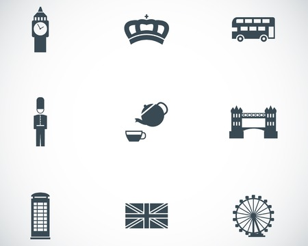 Vector black london icons set on white background Stock Vector - 24687100