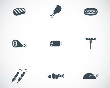 Vector black meat icons set on white background Vector