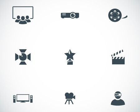 streaming: Vector black movie icons set on white background