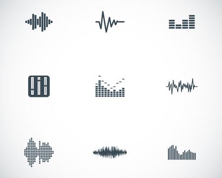 Vector black music soundwave icons set white background