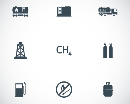 Vector black natural gas icons set on white background Vector