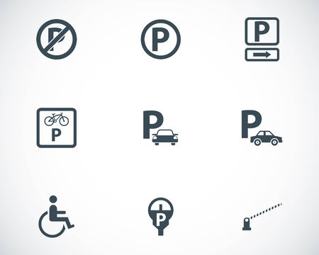 Vector black parking icons set on white background Vector