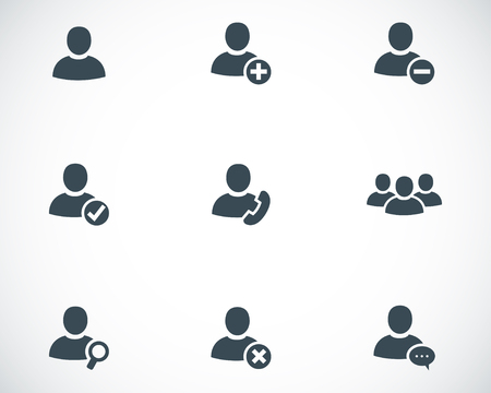 man customer support: Vector black people icons set on white background Illustration