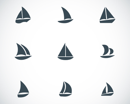 sailing vessel: Vector black sailboat icons set on white background