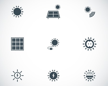 Vector black solar energy icons set on white background Vector