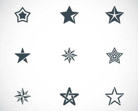 Vector black stars icons set on white background Vector