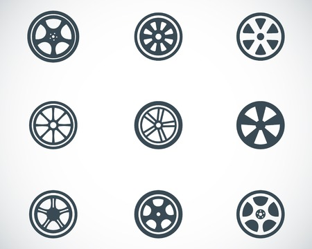 bicycle wheel: Vector black wheel disks icons set on white background