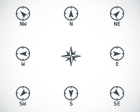 Vector black wind rose icons set on white background