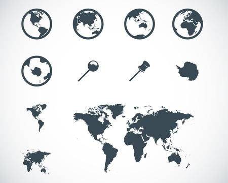 Vector black world map icons set on white background