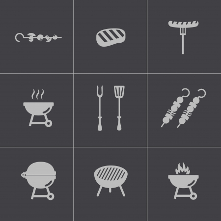 Vector zwart barbecue iconen set