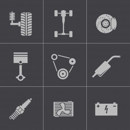 shock absorber: Vector black car parts icons set