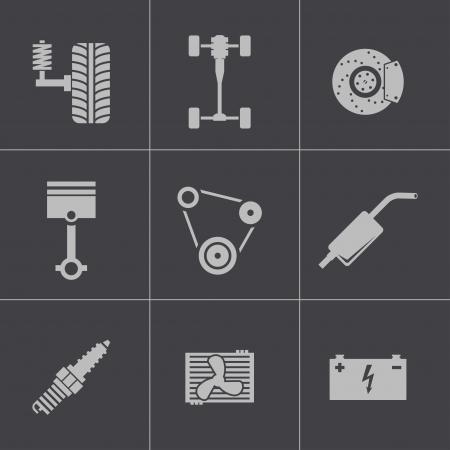 Vector black car parts icons set