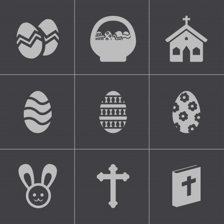 Vector black easter icons set Vector