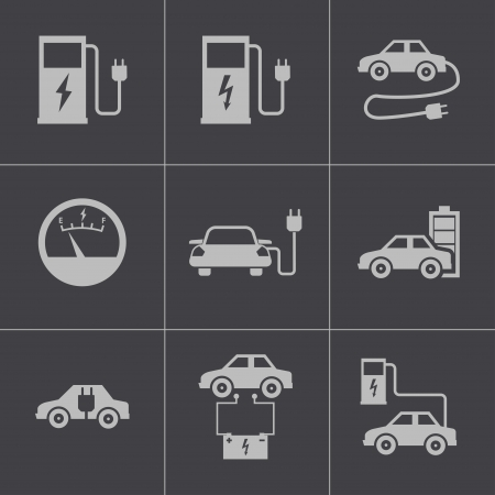 electric station: Vector black electric car icons set