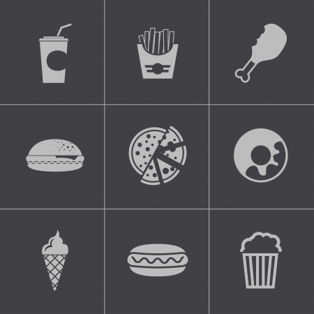 Vector black fast food icons set Vector