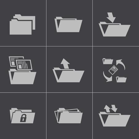 file transfer: Vector black folder icons set Illustration