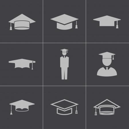 mortar board: Vector black academic cap icons set