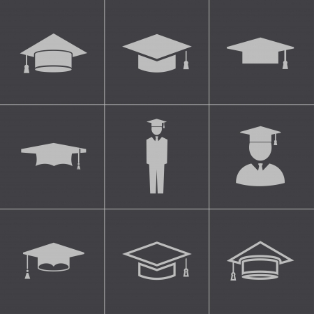birrete: Vector negro iconos capitalización académicos establecidos Vectores