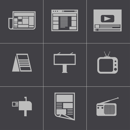 advertiser: Vector nero pubblicit� icone set