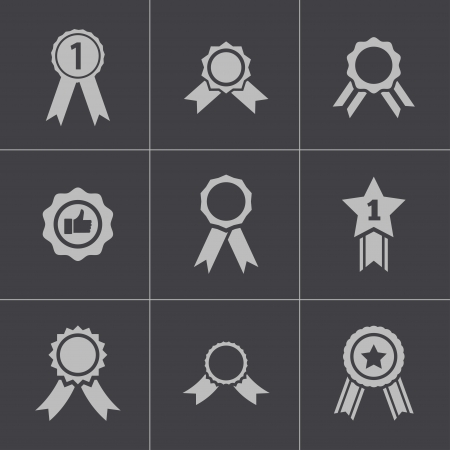 award ribbon rosette: Vector black award medal icons set Illustration