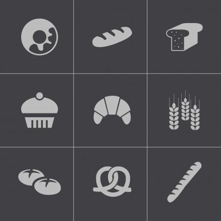 french toast: Vector black bakery icons set