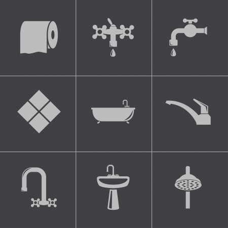 plumbing tools: Vector bagno nero set di icone