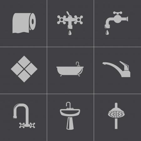 papel higienico: Vector de baño negro iconos conjunto Vectores