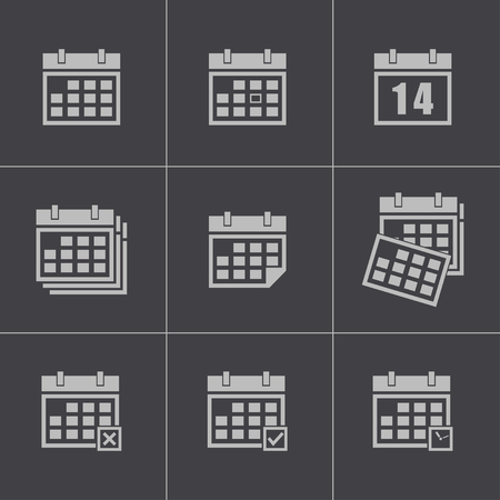 Vector black calendar icons set Vector