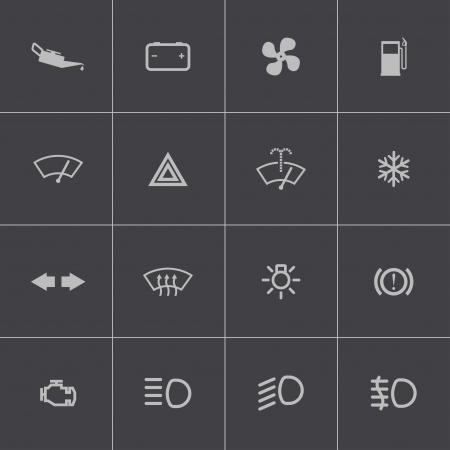 Vector balck car dashboard icons set Vector