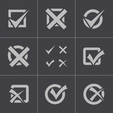 Vector black check marks icons set