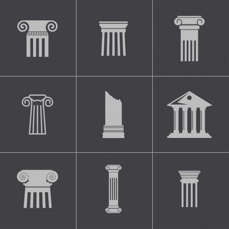 antigua grecia: Vector iconos de columna negro establecen