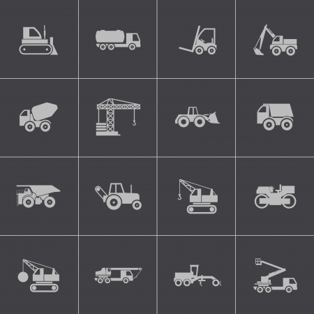 pickup truck: Vector black construction transport icons set Illustration