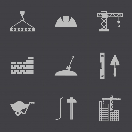concrete mixer: Vector black construction icons set