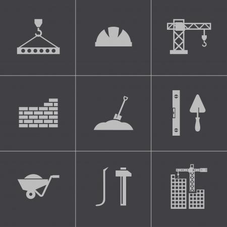 Zestaw ikon wektora czarno budowlanych