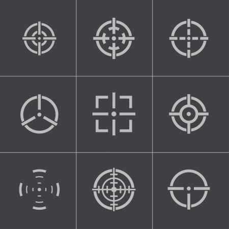 balck: Vector balck crosshair icons set
