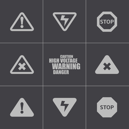 Vector black danger icons set on white background Stock Vector - 24739745