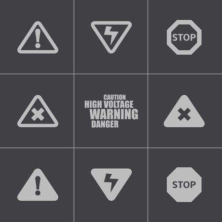 safety message: Vector black danger icons set on white background Illustration