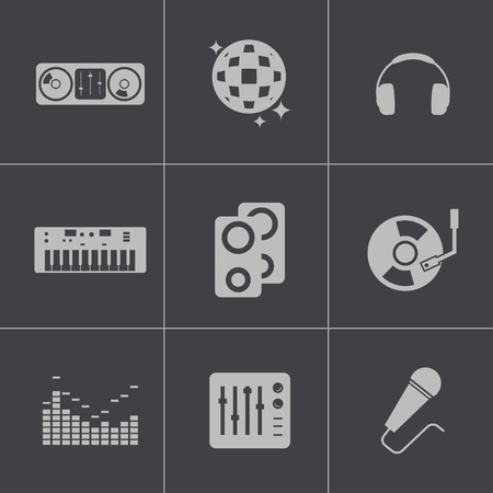Vector black dj icons set Vector